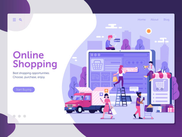 internet shopping landing page template - online shopping stock illustrations
