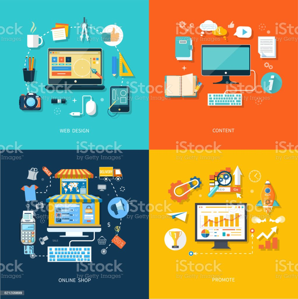 Internet shopping web design promote content vector art illustration