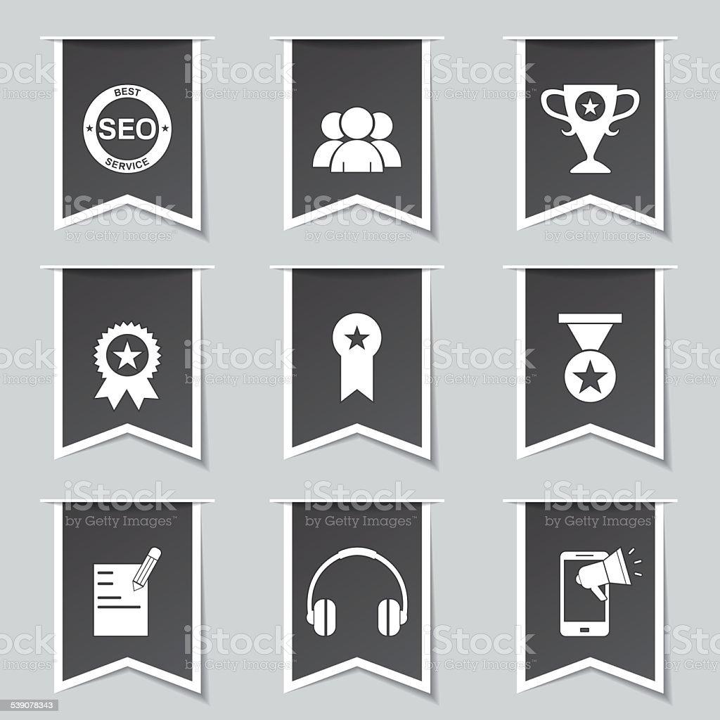 SEO Internet Sign Label Vector Black Icon Design Set 9 vector art illustration