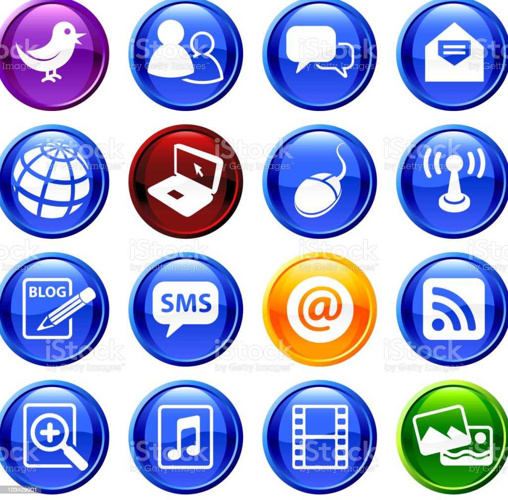 Internet social communications royalty free vector icon set royalty-free stock vector art