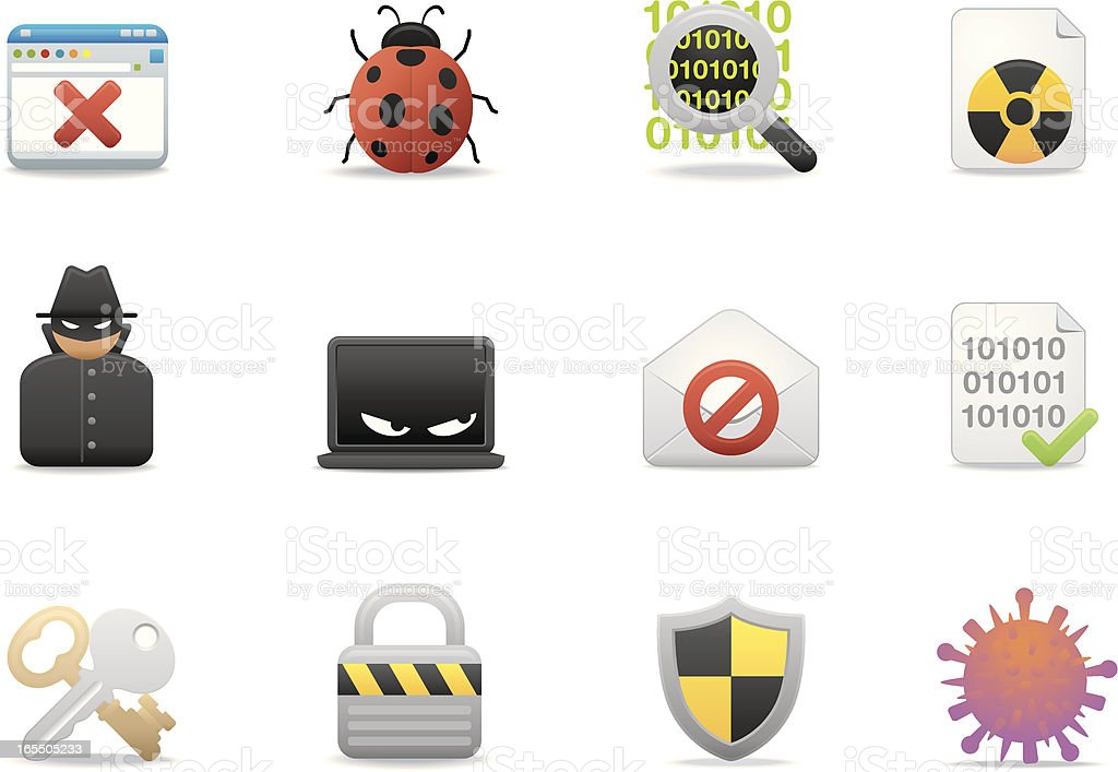 Internet & Software Security icons | Premium Matte series royalty-free stock vector art