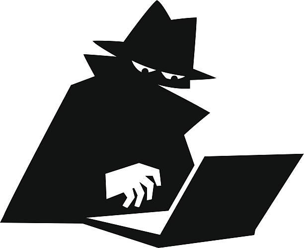 ilustraciones, imágenes clip art, dibujos animados e iconos de stock de espionaje a internet de alta velocidad - robo de identidad