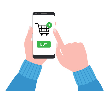 Internet store, shopping online. Hand pulling buy button on smartphone. Shopping cart. Vector illustration