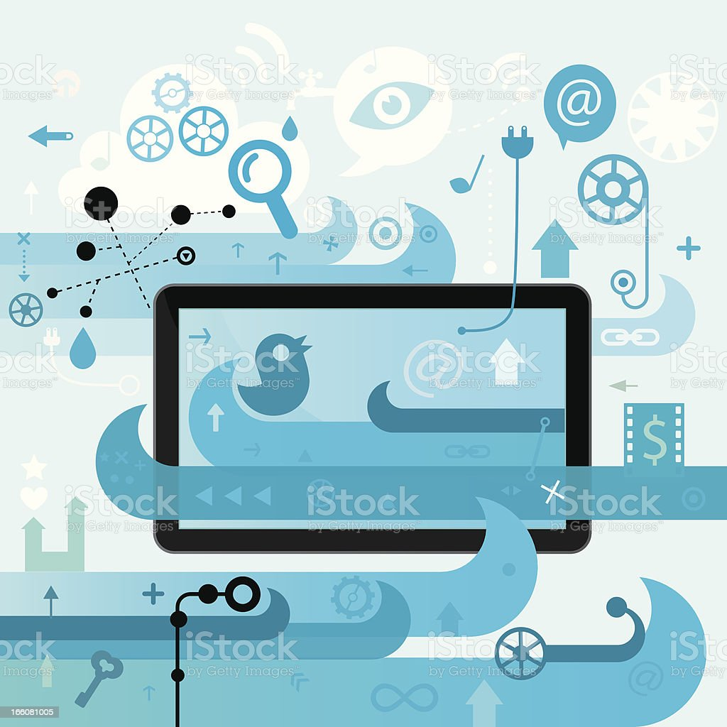 Internet Surfing Experience Blue Version royalty-free stock vector art