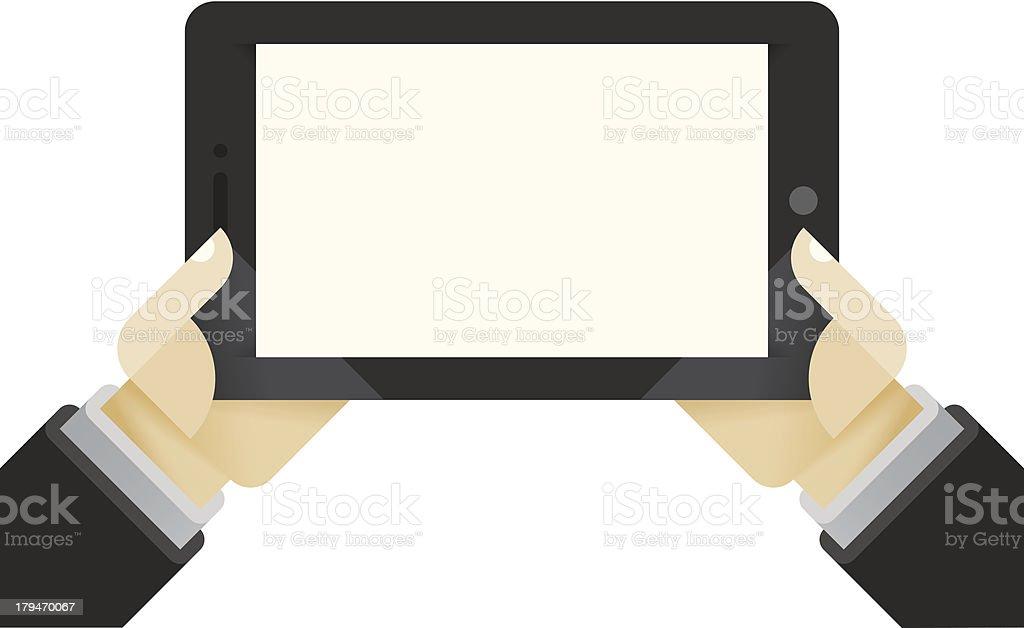 Internet tablet in businessman hands royalty-free stock vector art