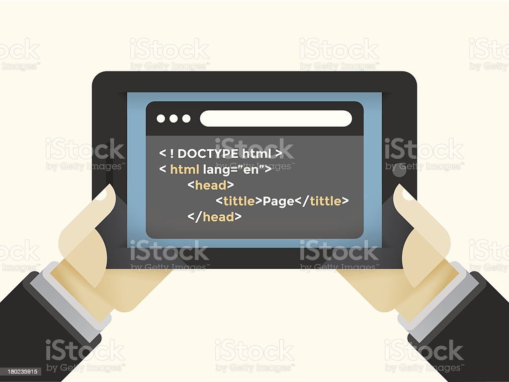 Internet tablet with html programming code royalty-free stock vector art