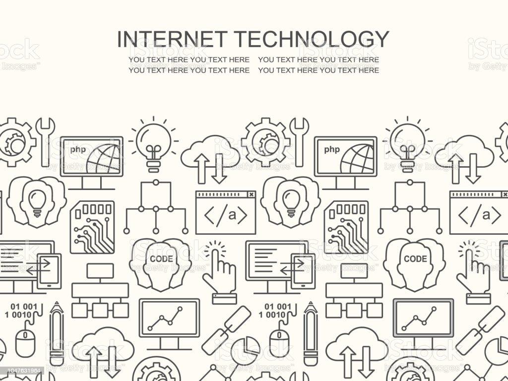 Internet-Technologie und Programmiermuster mit linearen Symbole auf weiß. Line Style html, Php und Code Hintergrund mit Platz für Text. - Lizenzfrei Computer Vektorgrafik