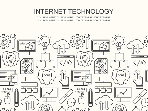 Internettechnologie Und Programmiermuster Mit Linearen Symbole Auf Weiß Line Style Html Php Und Code Hintergrund Mit Platz Für Text Stock Vektor Art und mehr Bilder von Computer