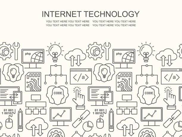 Internet-Technologie und Programmiermuster mit linearen Symbole auf weiß. Line Style html, Php und Code Hintergrund mit Platz für Text. – Vektorgrafik