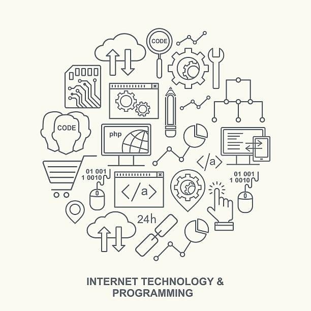 Internet-Technologie und Programmen Runde Hintergrund mit linearen Symbole – Vektorgrafik