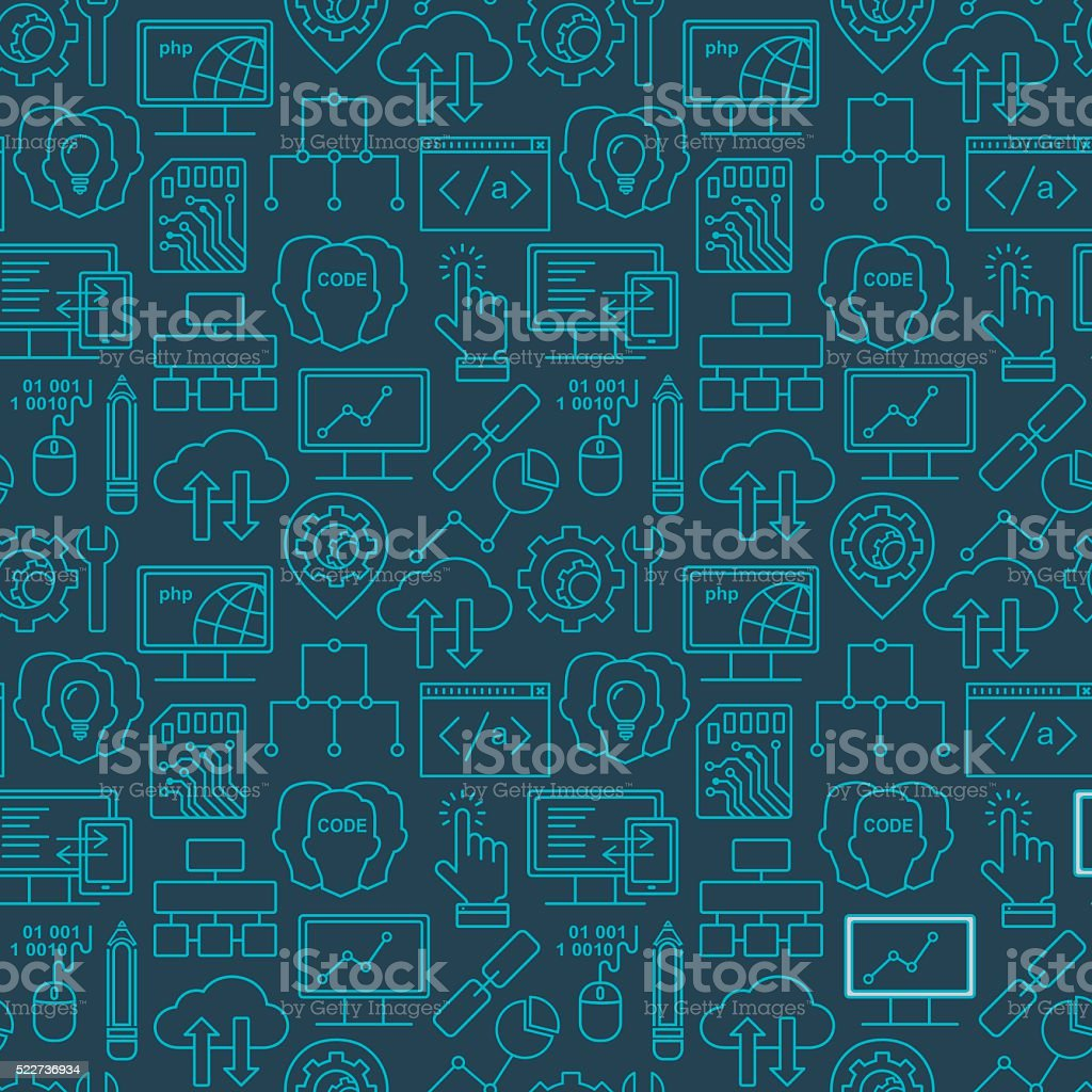 Internet technology and programming seamless background with linear icons vector art illustration