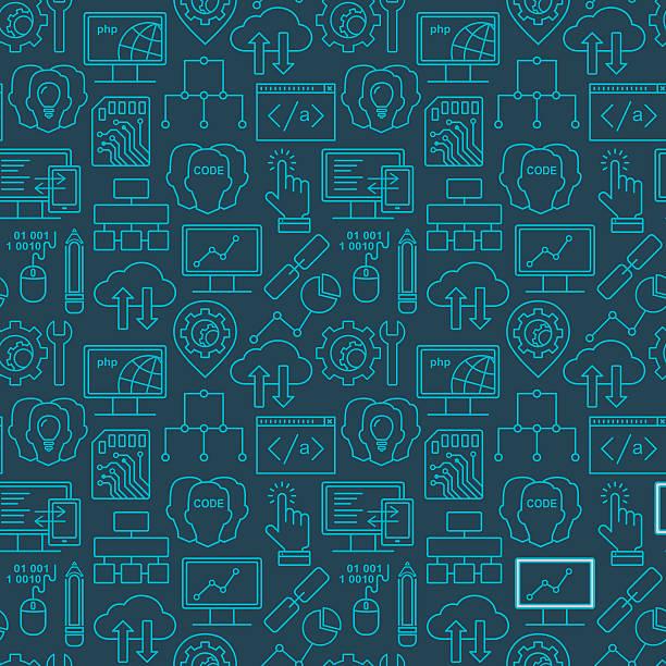 Internet-Technologie und Programmen nahtlose Hintergrund mit linearen Symbole – Vektorgrafik