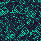Internet technology and programming seamless vector background with linear icons set. Html, php and code seamless pattern with line style modern icons