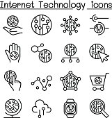 Internet technology & Data communication icon set in thin line style
