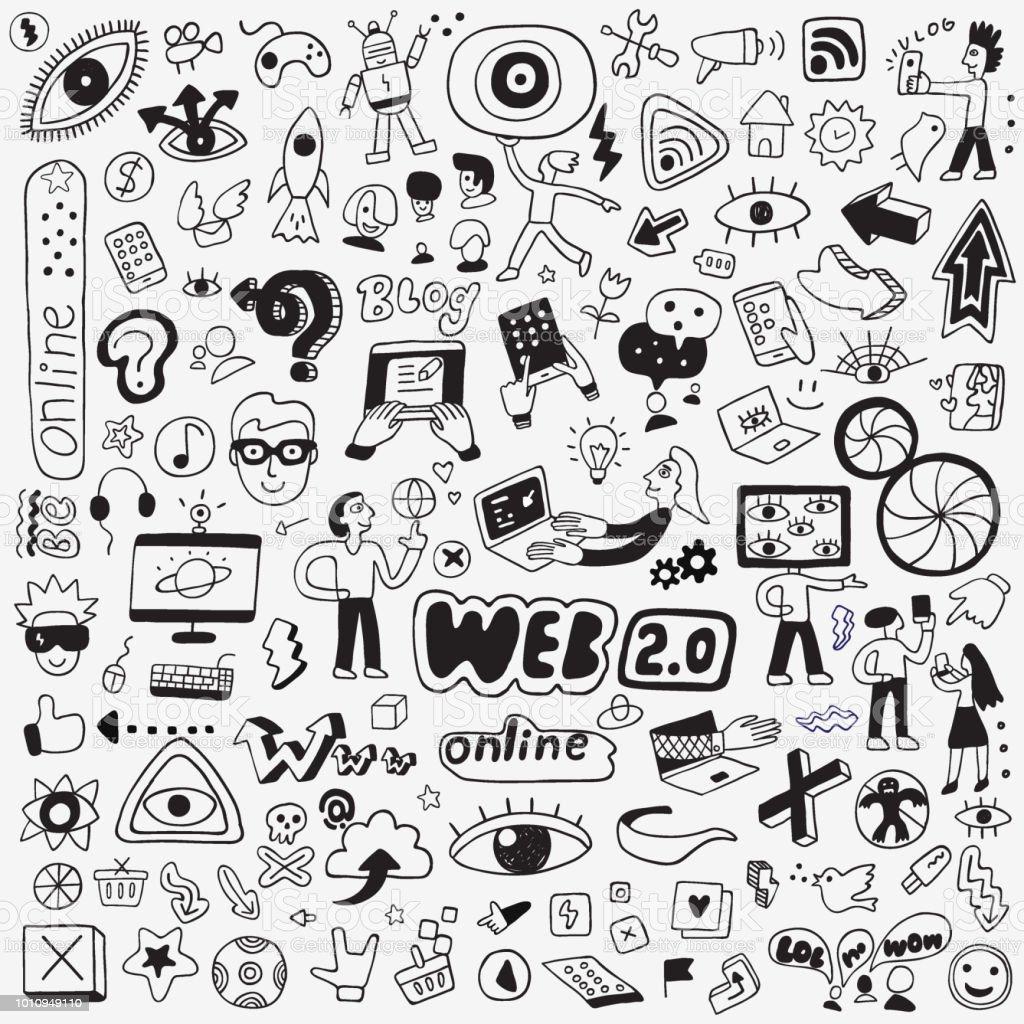 Internet Technology Doodle Set Stock Illustration ...