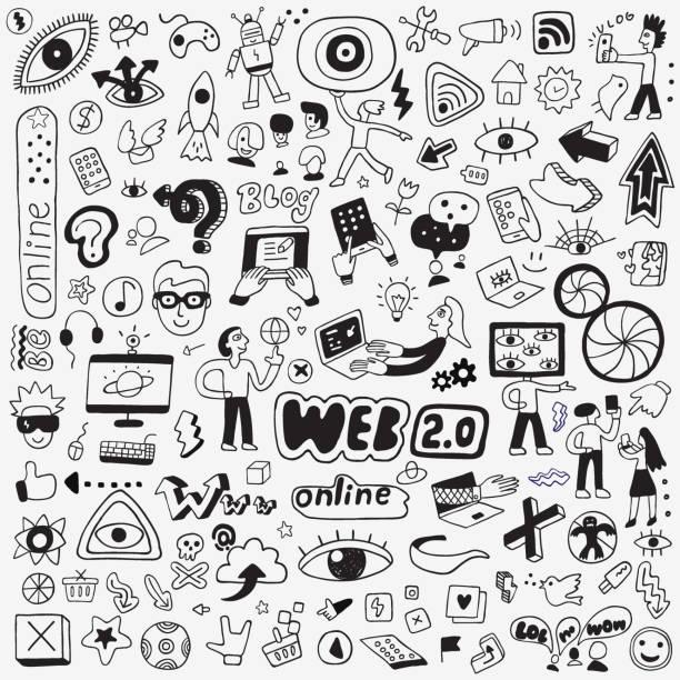internet technology doodle set computer,symbol,freelance work,cartoon,social media conceptual symbol stock illustrations