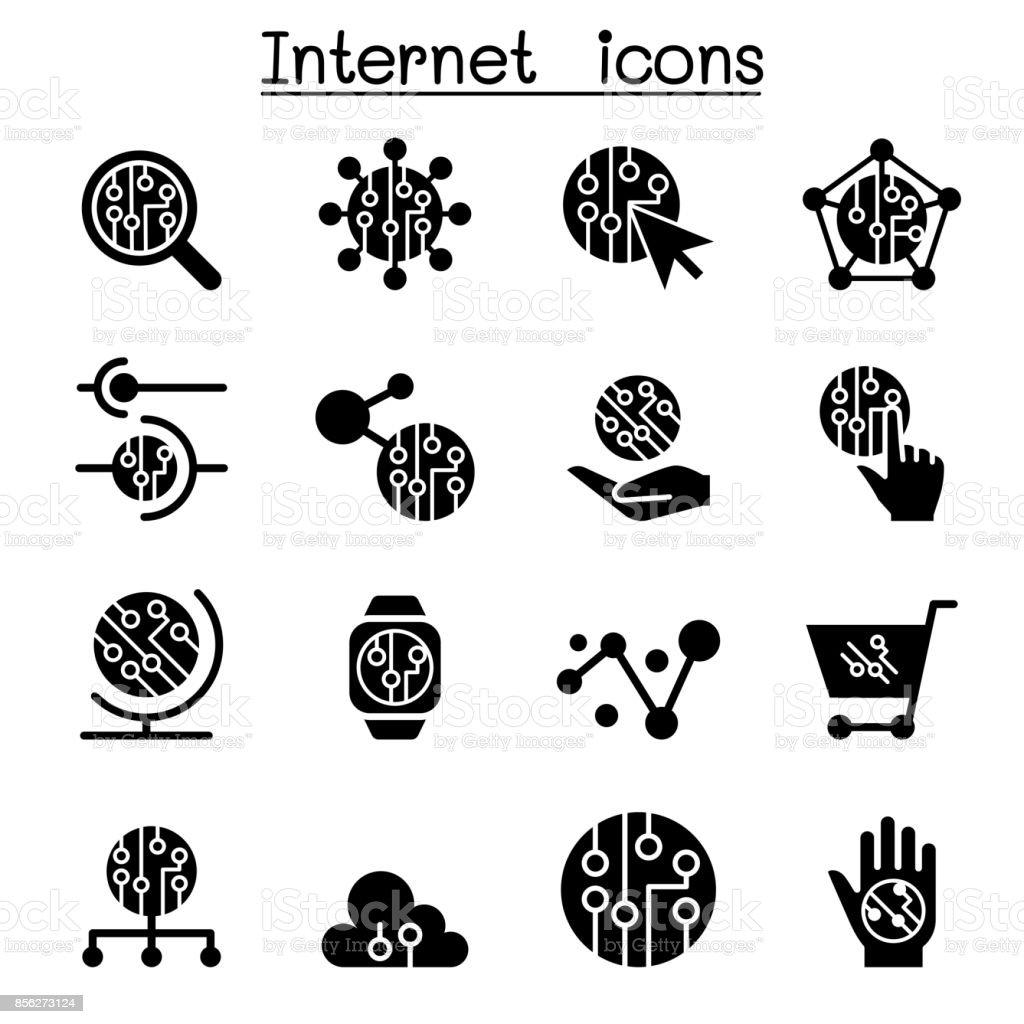 Internet & Technology icons vector art illustration