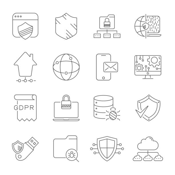 Internet technology, online services. data, information security, connection technology, GDPR. Thin line web icon set. Editable Stroke. EPS 10 vector art illustration