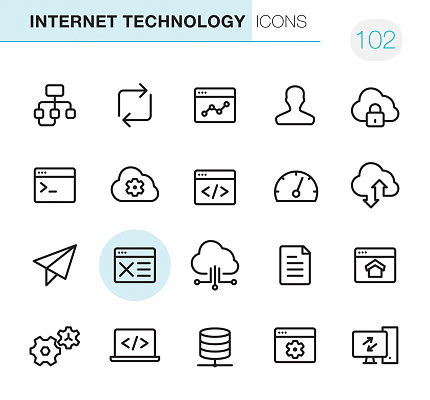 20 Outline Style - Black line - Pixel Perfect icons / Internet Technology Set #102 Icons are designed in 48x48pх square, outline stroke 2px.  First row of outline icons contains:  Algorithm, Reload, Graph, User, Cloud Lock;  Second row contains:  Coding, Cloud Settings, Website coding, Gauge, Cloud Computing;  Third row contains:  Planning, Website Wireframe, Modeling API, Content, Homepage;   Fourth row contains:  Gears, Code icon, Network Server, Settings, Computer Equipment.  Complete Primico collection - https://www.istockphoto.com/collaboration/boards/NQPVdXl6m0W6Zy5mWYkSyw