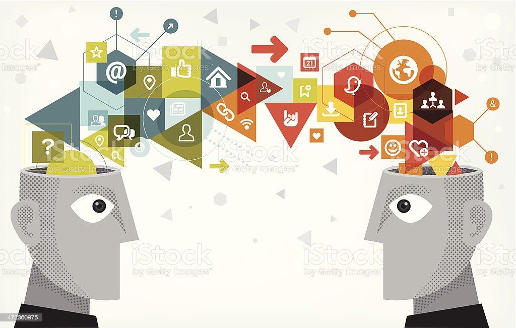 Internet technology sharing vector art illustration