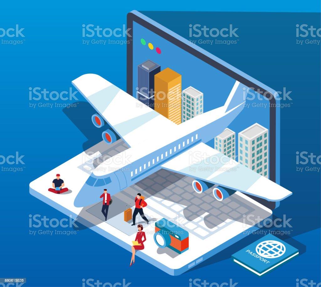Viagens e reservas de bilhetes de Internet - ilustração de arte em vetor