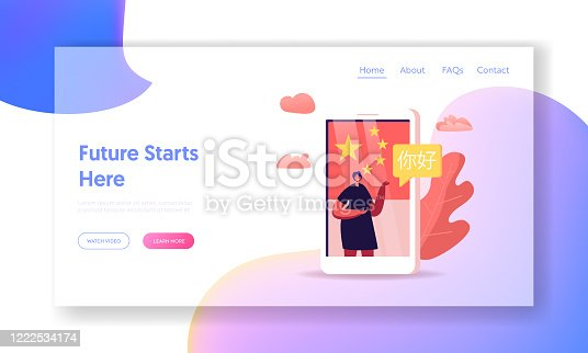 Internet Translator Service Studying Course Landing Page Template. Female Character Say Ni Hao, Hello on Chinese Language. Teacher Conduct Lesson Online on Huge Smartphone. Cartoon Vector Illustration