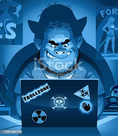 Vector illustration of a troll with a neckbeard sitting in his dark room decorated with posters and action figures, using a laptop, probably posting comments on social media or playing video games. Concept for online trolling, cyberbullying, online harassment, social media, fake news, communication, nerds, computer hacking and video games.