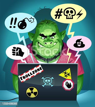 Vector illustration of a green troll with a neckbeard sitting in his dark room using a laptop computer, posting mean comments on social media. Concept for online trolling, cyberbullying, online harassment, rudeness, social media, fake news and communication.