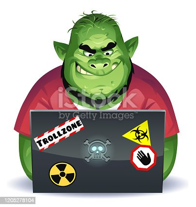 Vector illustration of a green overweight troll with a beard using a laptop computer, probably posting mean comments on social media. Concept for online trolling, cyberbullying, online harassment, rudeness, social media and communication.