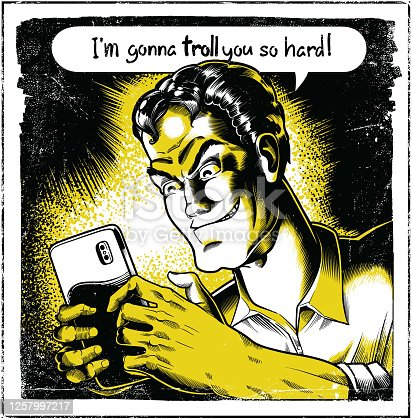 Internet Troll with smartphone