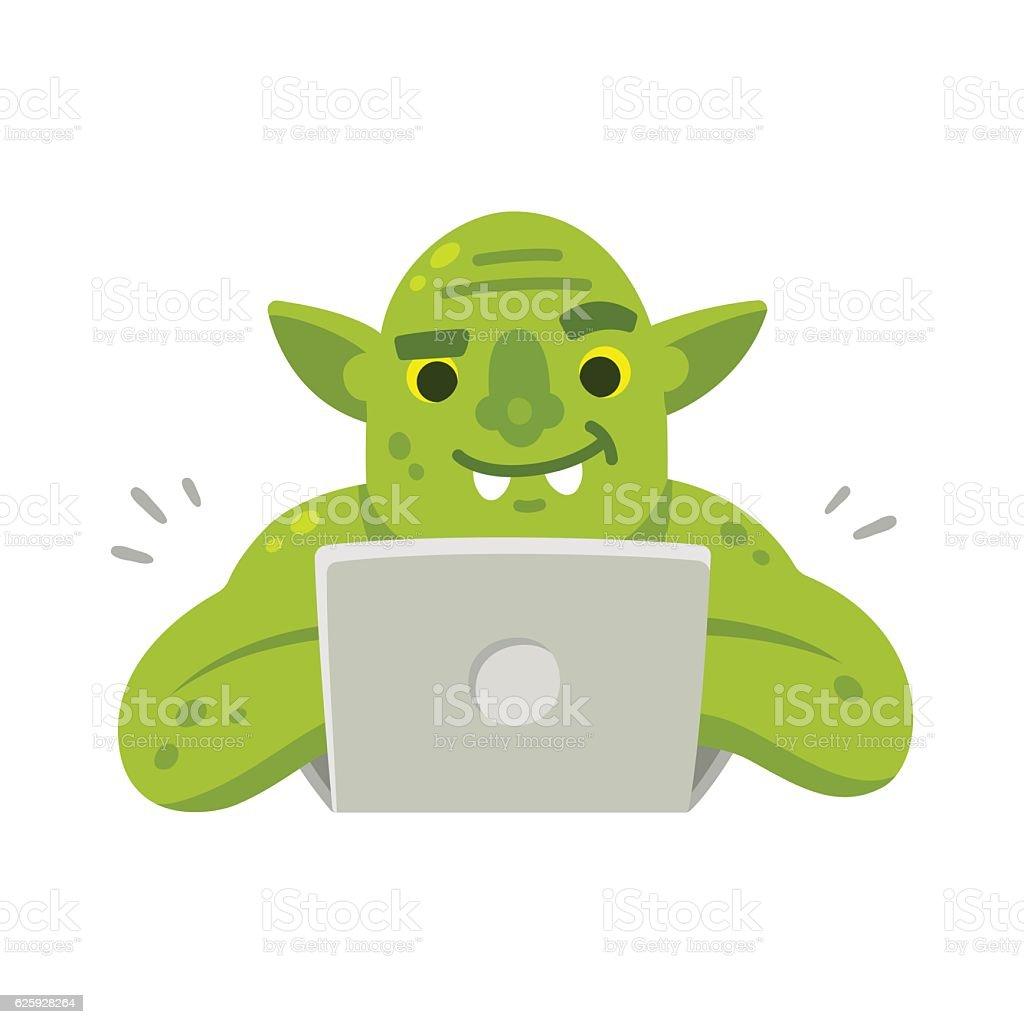 Internet troll with laptop vector art illustration