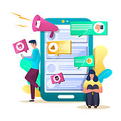 Internet trolling concept vector illustration. Huge smartphone with bad comments, dislikes, tiny characters upset girl, couple quarreling in chat. Offensive provocative online posting, cyberbullying.