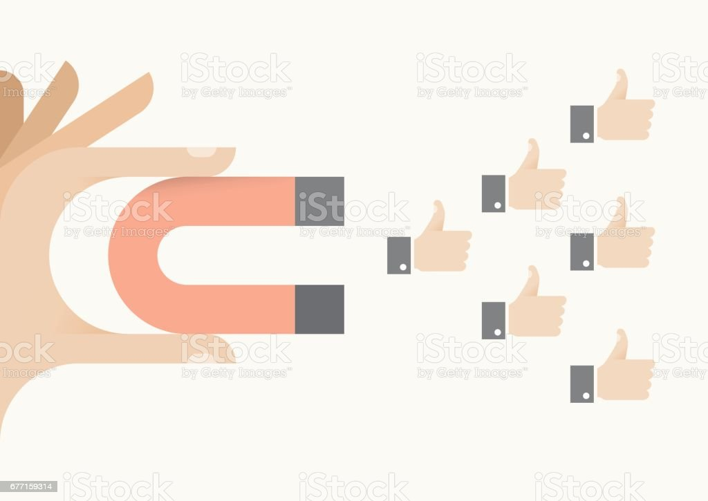 Internet user holding abstract magnet attracting thumbs up icons. Idea - Social networking, article feedback and appreciation, online relationships and messaging concepts. vector art illustration