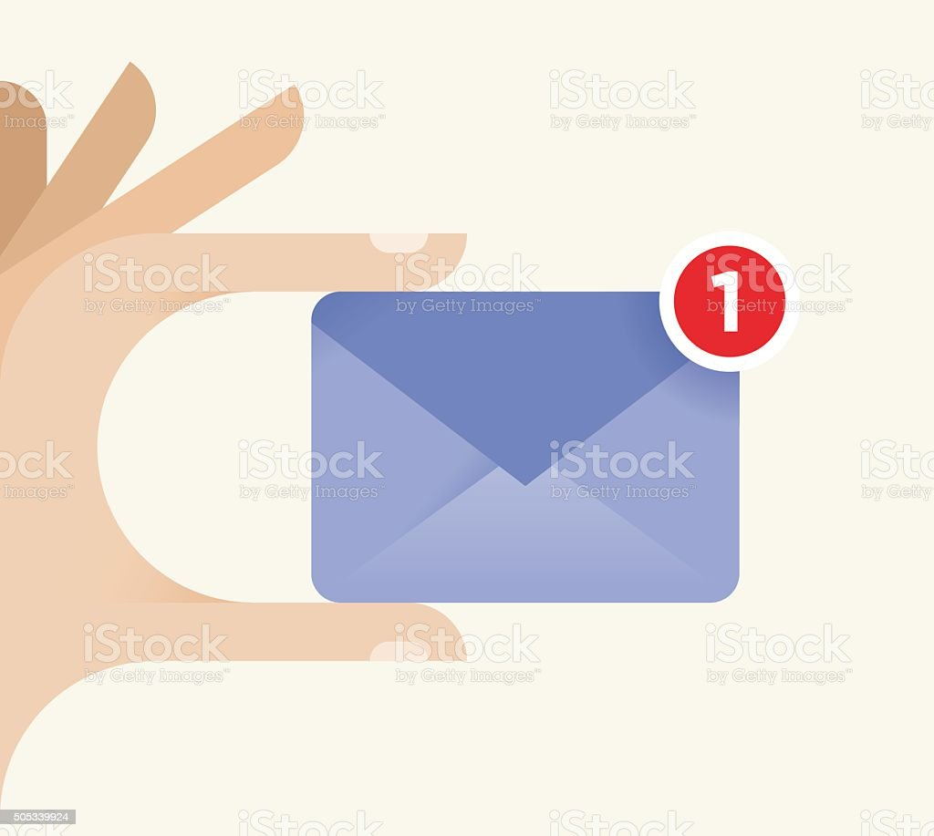 Internet user holding new chat or e-mail message symbol sign vector art illustration