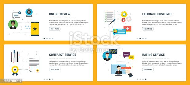 Web banners concept in vector with online review, feedback customer, contract service and rating service. Internet website web banner concept with icon set. Flat design vector illustration. Web banner in white backgrounds.