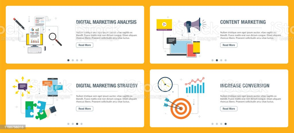 Web banners concept in vector with digital marketing analysis,...