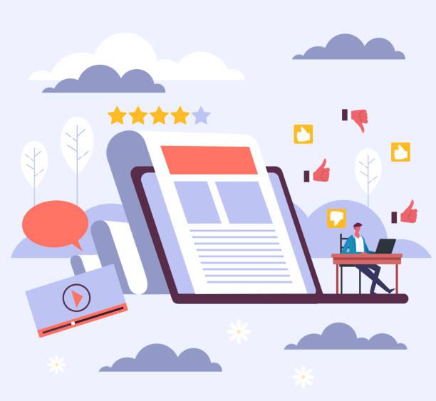 Internet web blogging storytelling seo concept. Vector flat graphic design cartoon illustration vector art illustration