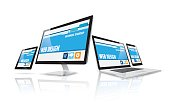 Vector illustration. Internet online computer web design website network technology future concept