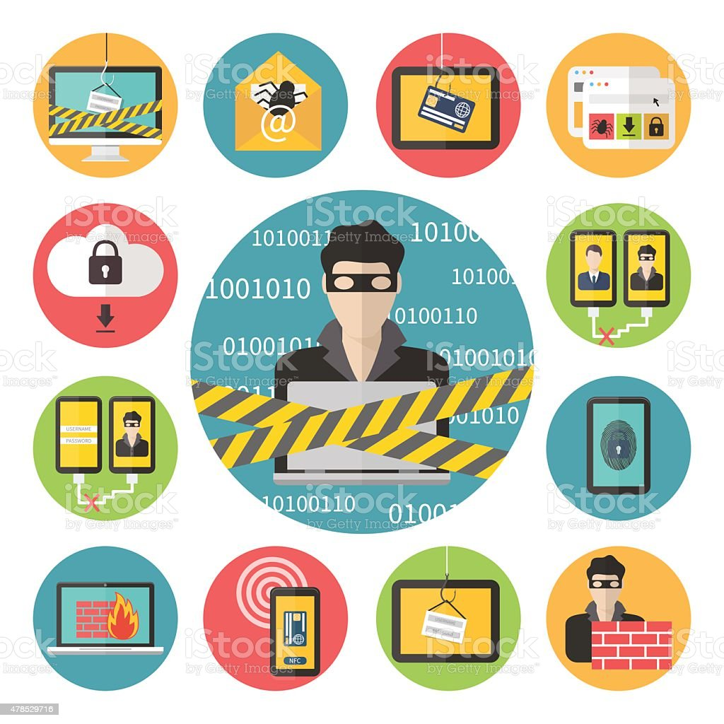 Internet web security vector art illustration