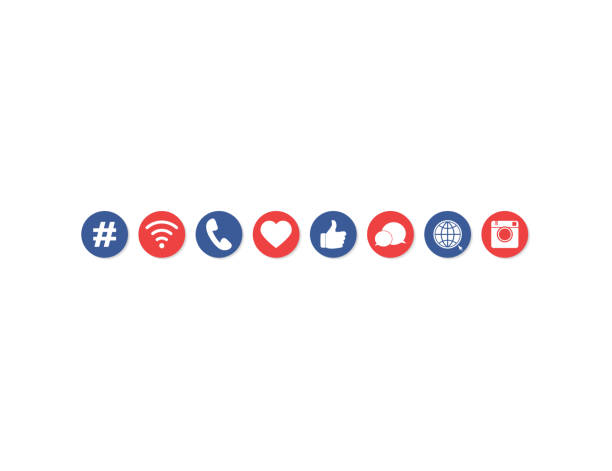 internet web social media icons gesetzt - social media icons stock-grafiken, -clipart, -cartoons und -symbole