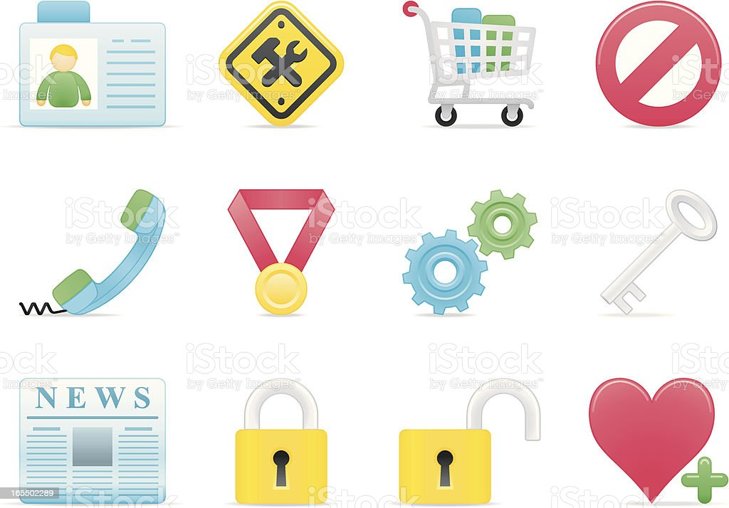 internet & website icon set part III soft modern royalty-free stock vector art
