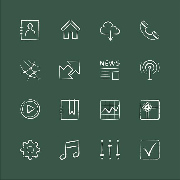 Internet & Website-Symbole, Kreide Stil, Teil 3 – Vektorgrafik
