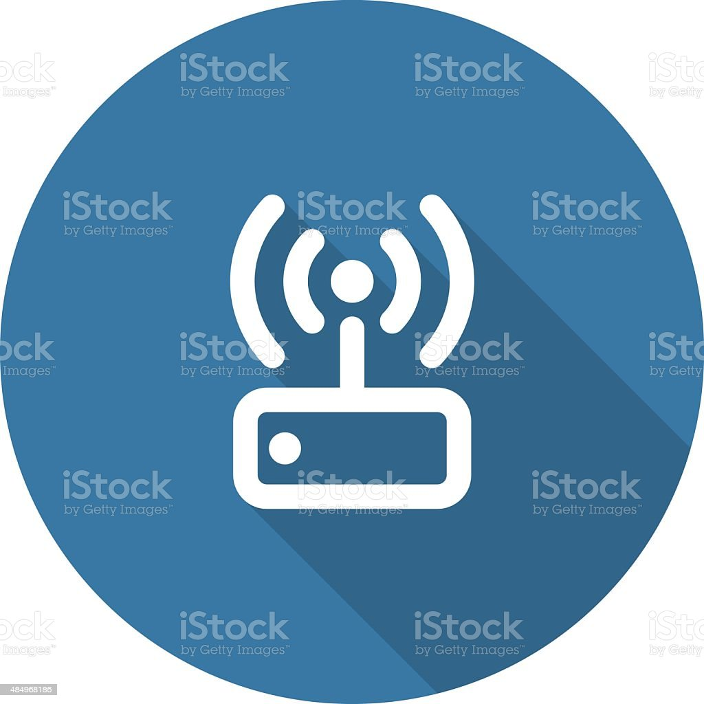 Internet Wi Fi Router. Flat Design. Long Shadow. vector art illustration