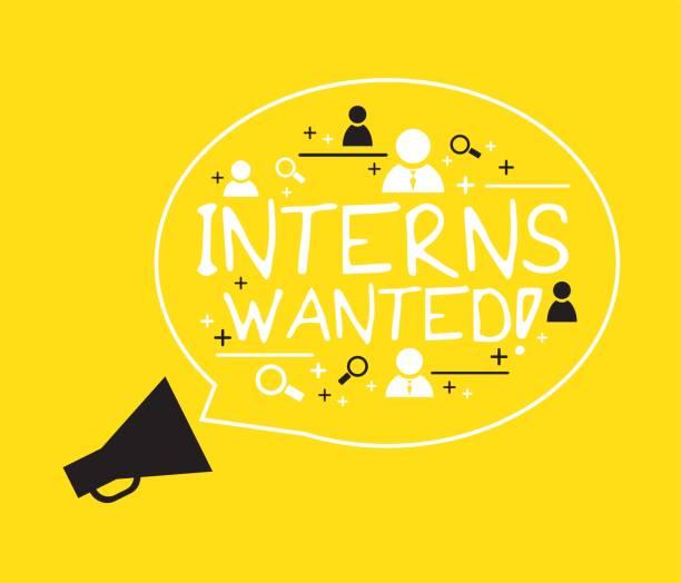 Interns wanted internship concept vector art illustration