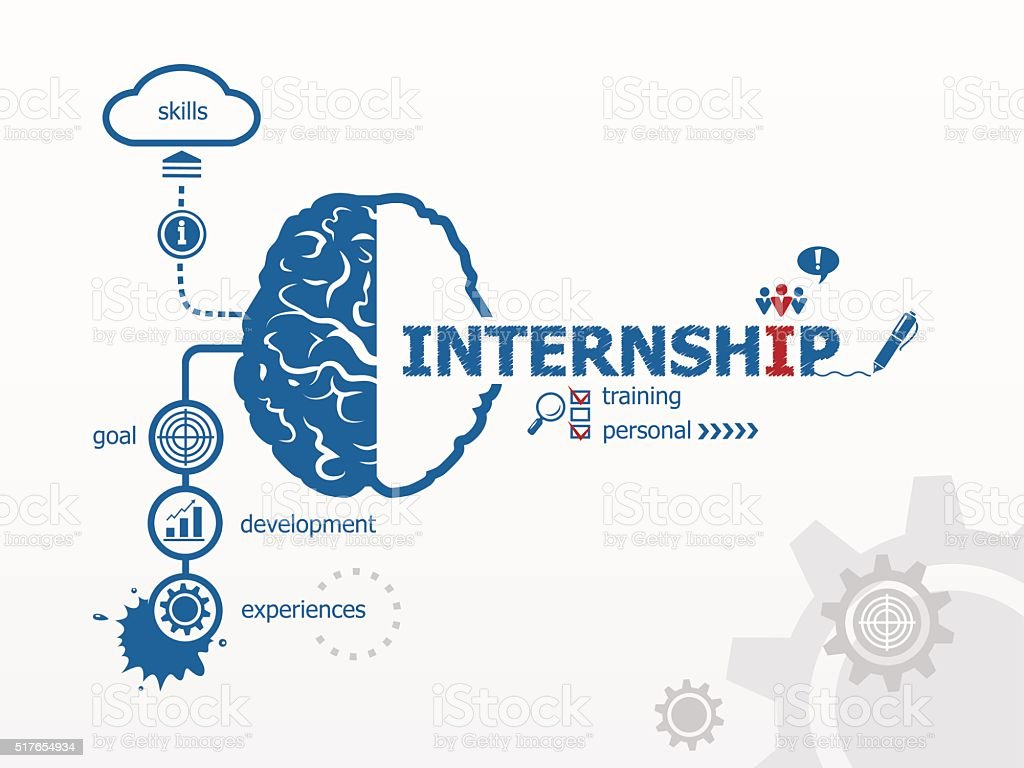 Internship and brain, creative concept. vector art illustration