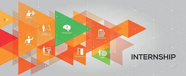 Internship banner and icons vector art illustration