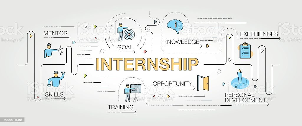 Internship banner and icons vector art illustration