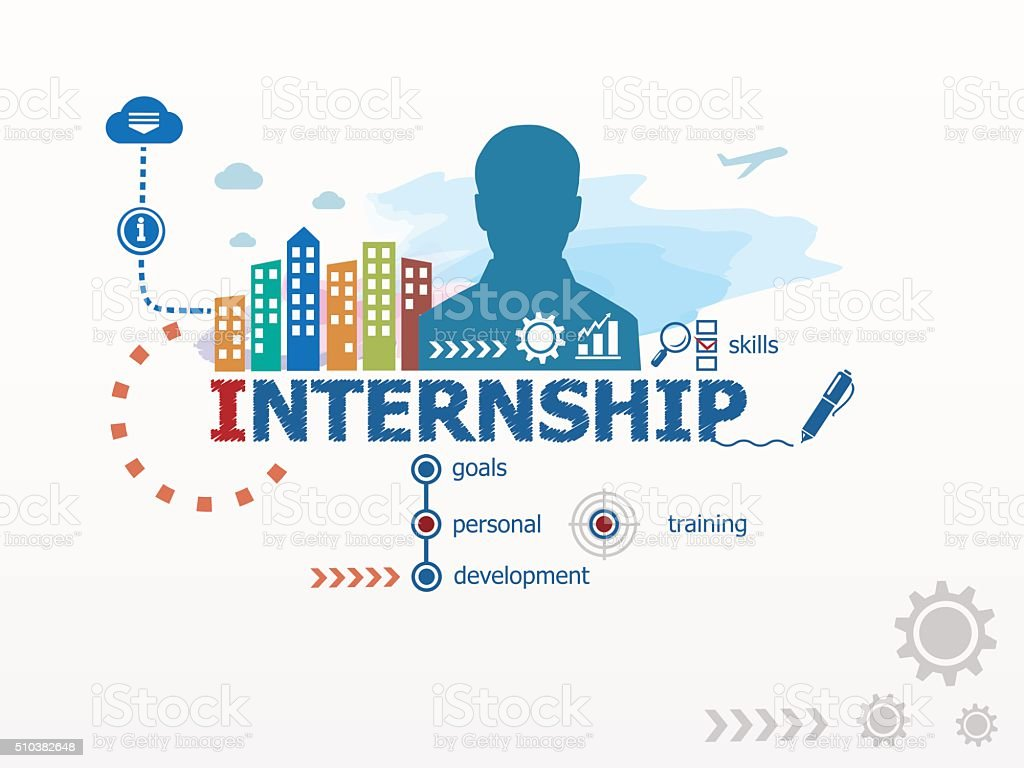 Internship concept and business man. vector art illustration