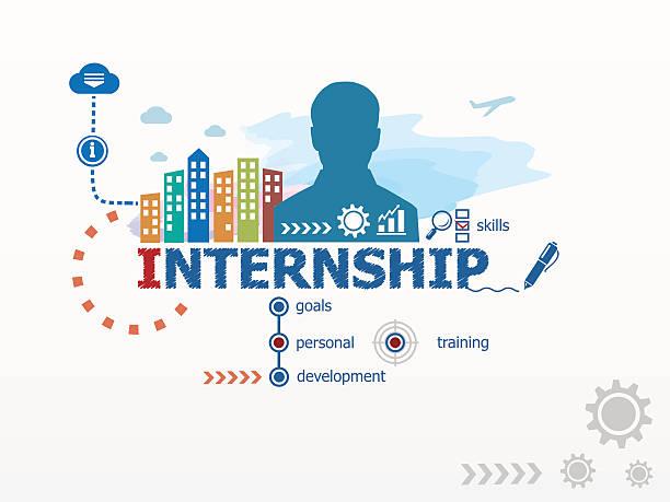 Internship concept and business man. vector art illustration