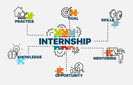 Internship concept. Infographics. Chart with keywords and icons. Vector illustration.